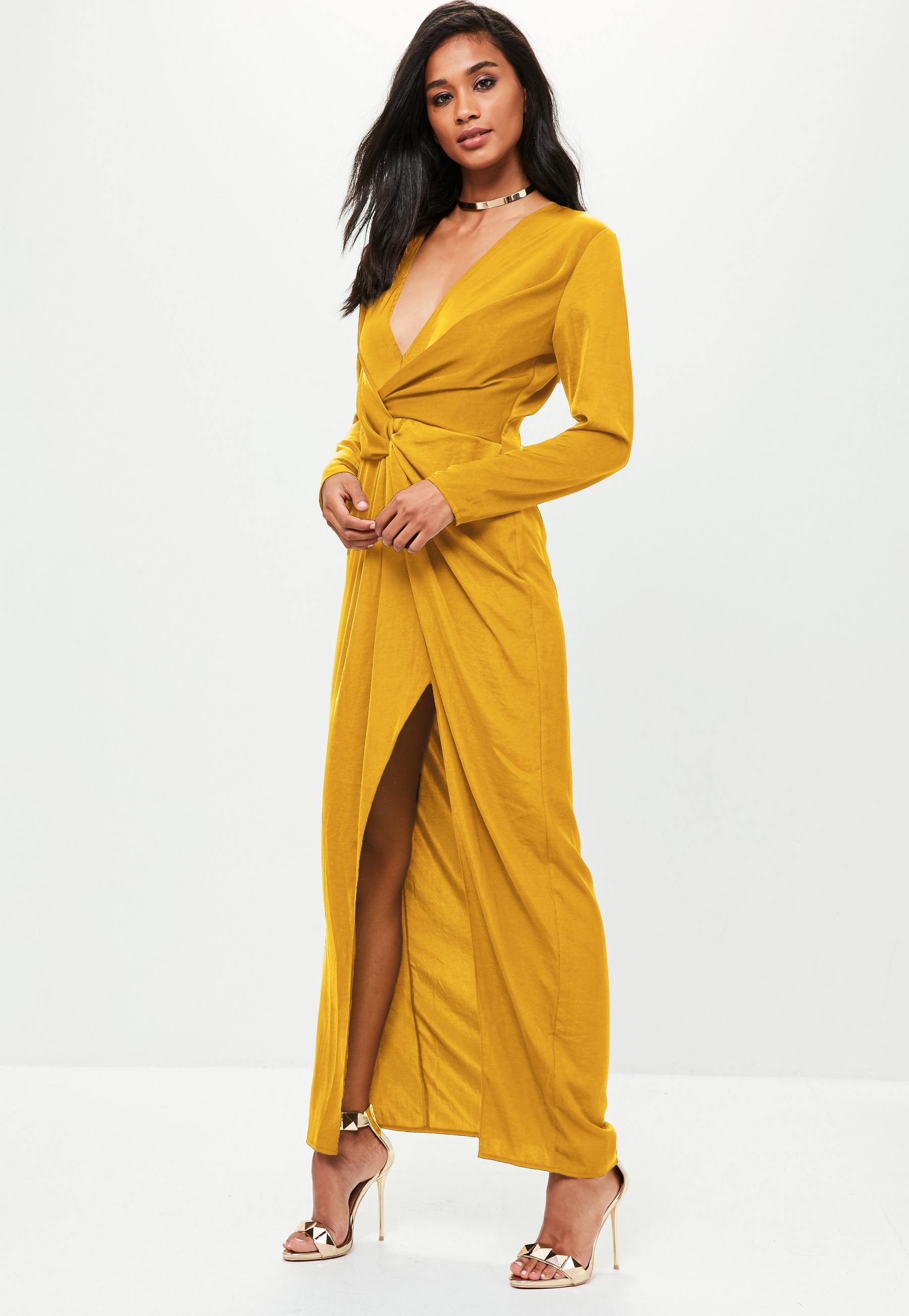 e23ab8b0784 Mustard Yellow satin asymmetric twist front maxi dress