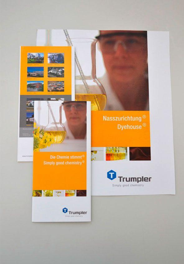 TRUMPLER - Für die internationale Chemiefabrik wurde ein modernes Erscheinungsbild in verschiedenen Sprachen umgesetzt.
