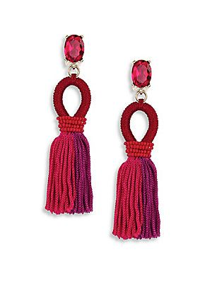 Oscar de la Renta Short Gradient Silk Tassel Earrings - Cerise