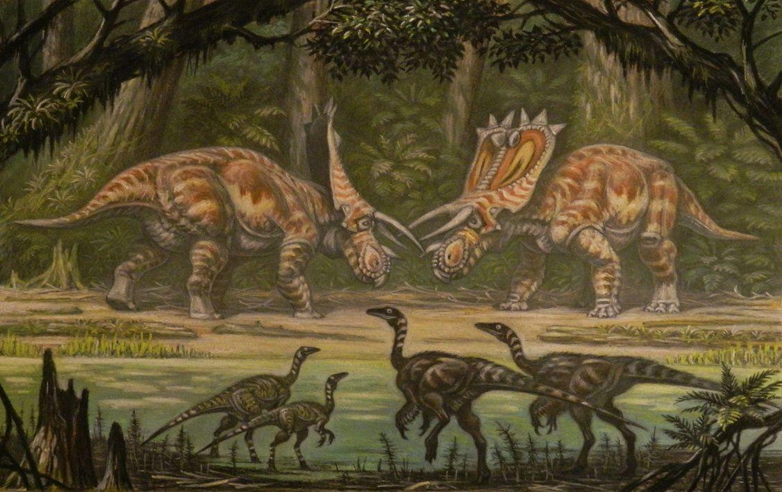 Anchiceratops.Ornithomimus. by ABelov2014 on DeviantArt
