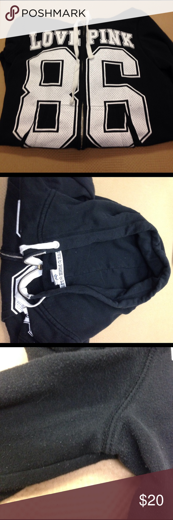 PINK Victoria's Secret 86 black hoodie Silght pulling but not much. Otherwise in good condition. Size XS PINK Victoria's Secret Tops Sweatshirts & Hoodies