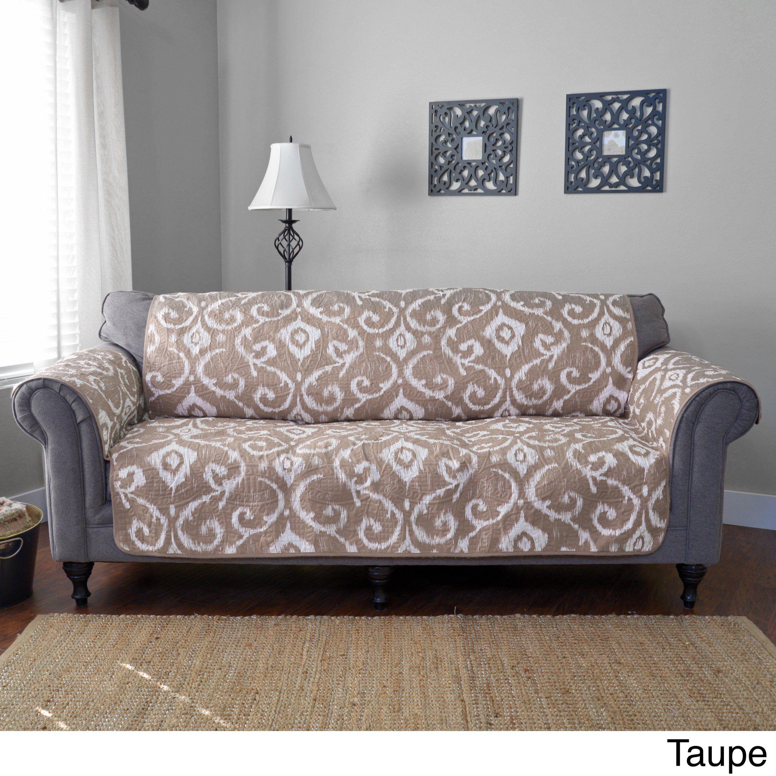 111 X 68 Inch Brown Geometric Design Sofa Slip Cover Light
