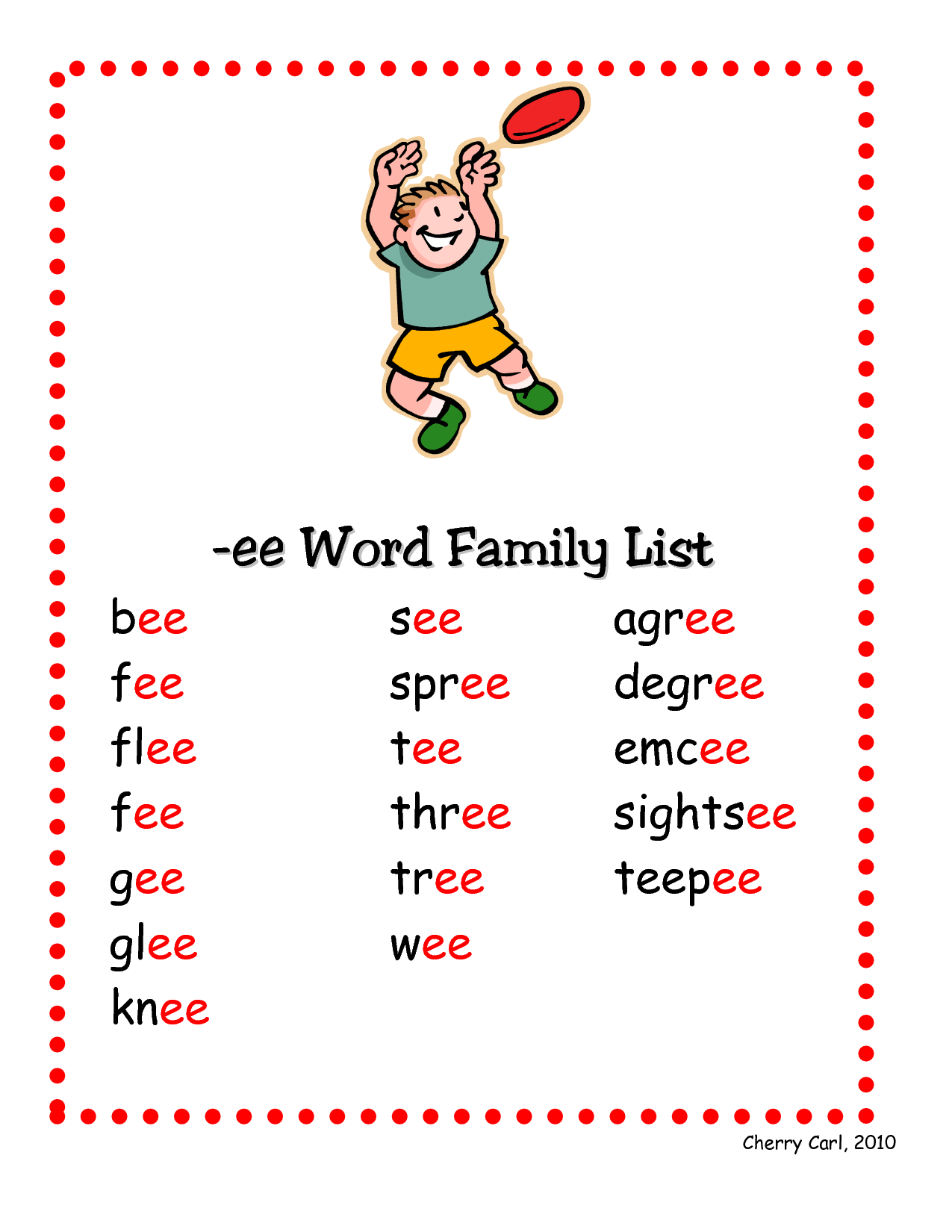 Ee Word Family List