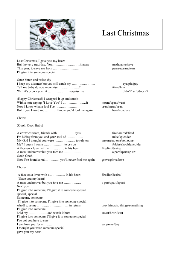 Song Worksheet Last Christmas By Wham Last Christmas Lyrics Christmas Worksheets Christmas Songs Lyrics