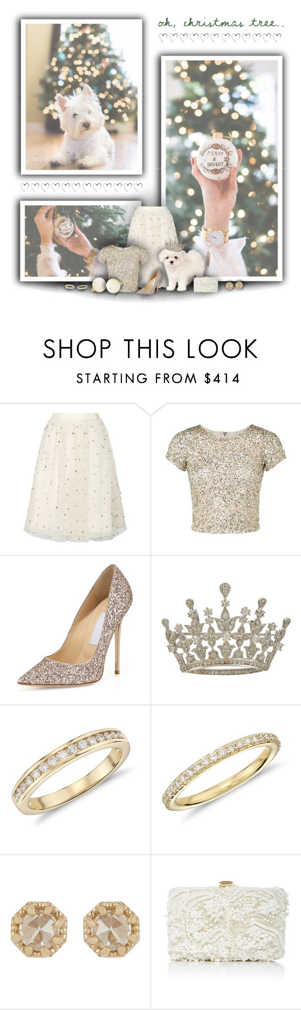 """Oh, Christmas Tree!"" by rachelegance ❤ liked on Polyvore featuring Alice + Olivia, Jimmy Choo, Blue Nile, Grace Lee Designs, Elie Saab, holidaystyle and HolidayParty"