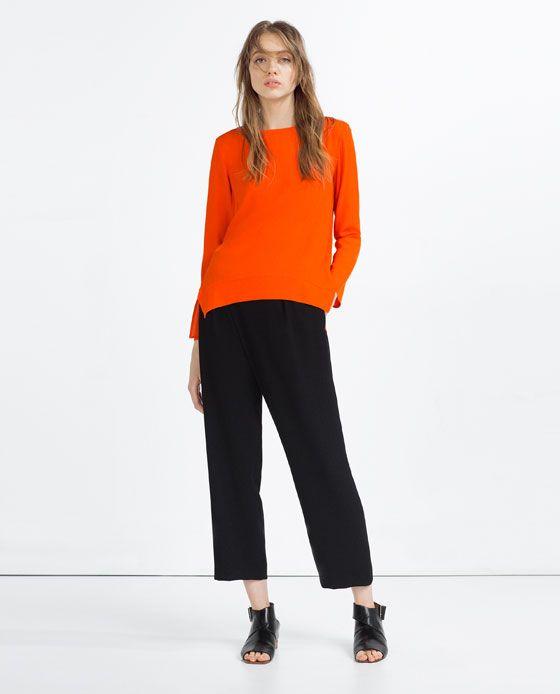 0270a5857 ZARA - MUJER - BLUSA CUELLO BARCO | Fashion style | Blusa con cuello ...