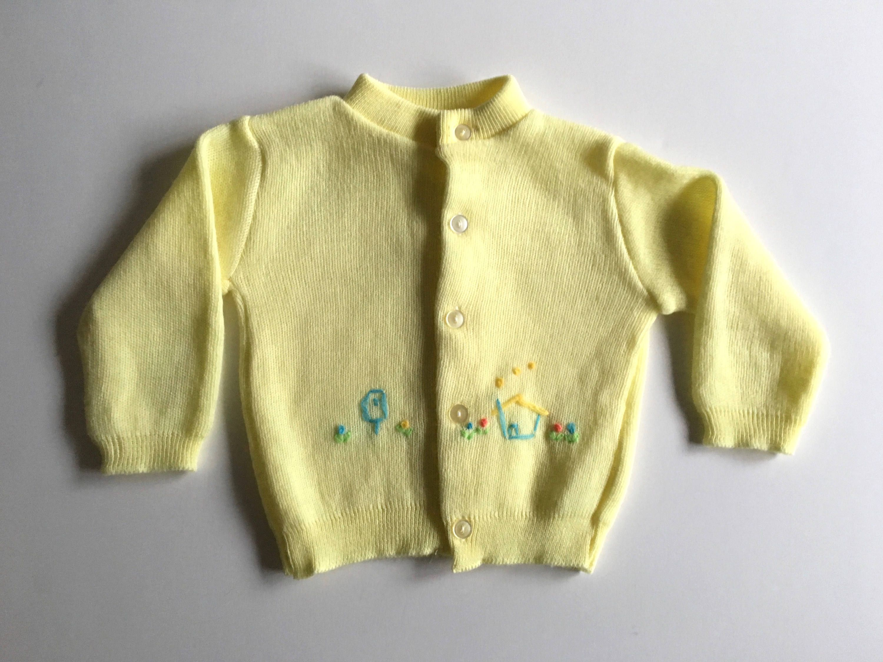 Vintage Baby 70's Yellow Cardigan Sweater, Long Sleeve by KMart (7 ...