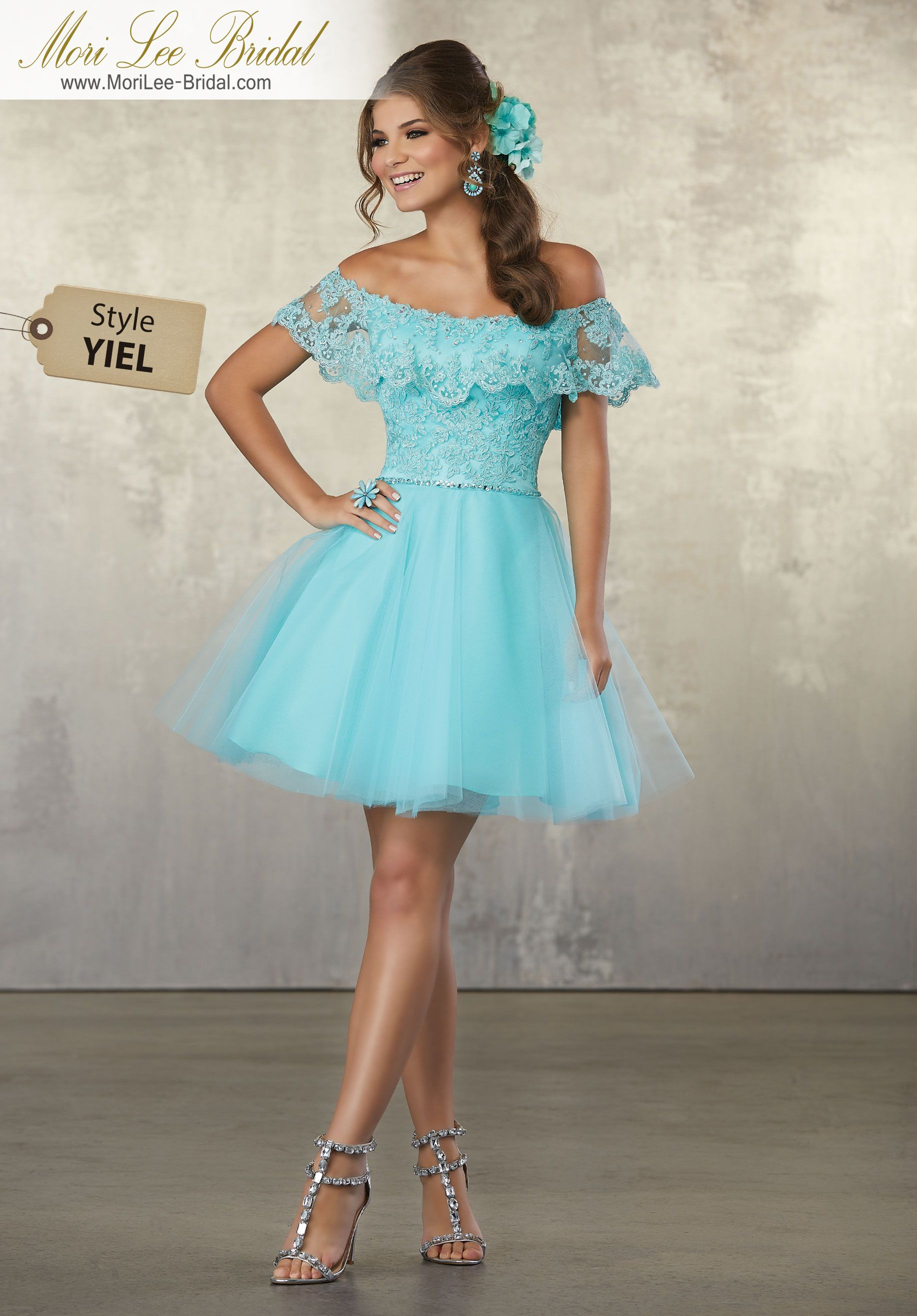 3429dc5b2d81 Style YIEL Lace and Tulle Party Dress with Off the Shoulder Flounced  Neckline Colors Available  Aqua
