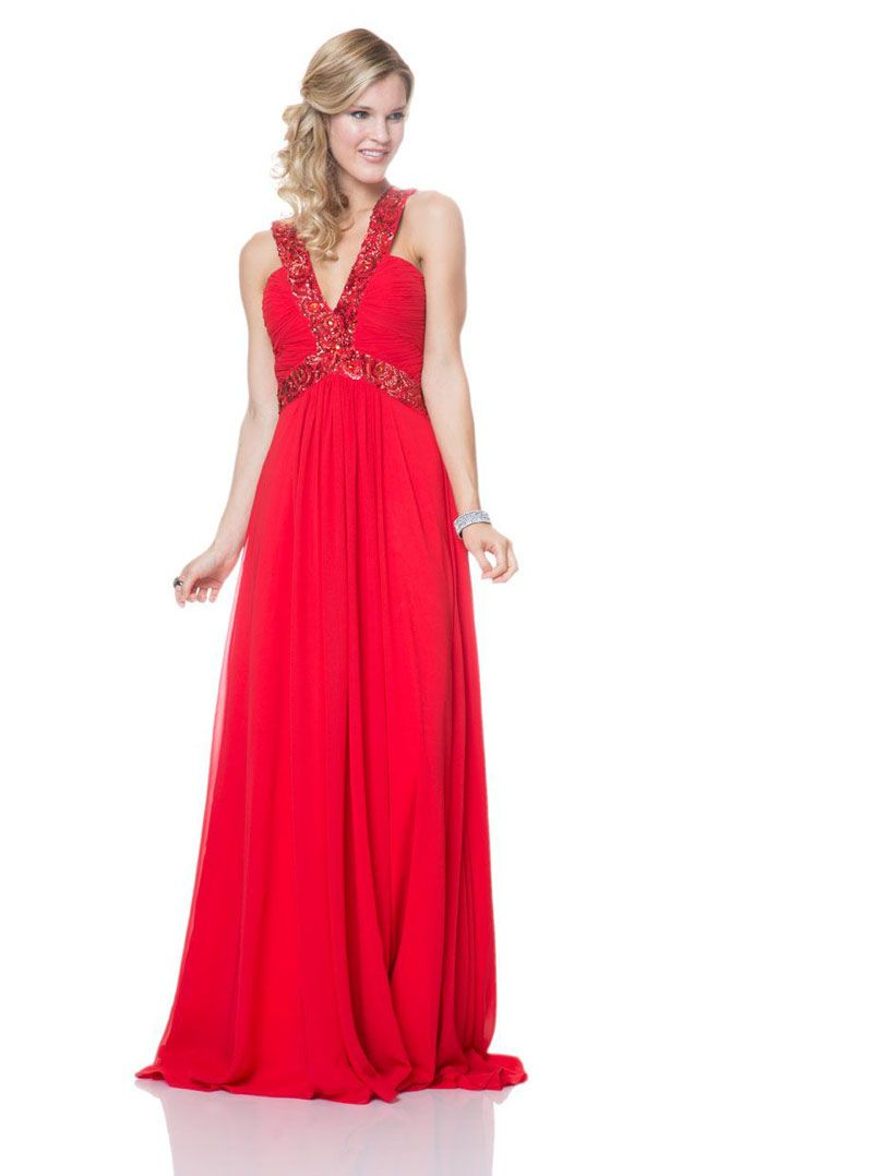 3c73d4faca  Red Deep V Neck  Sleeveless Long  Chiffon A-line  Vintage  Ball Dress
