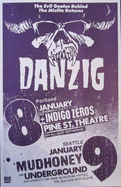 Danzig with Indigo Zeros and Mudhoney. Pine Street Theater and Underground - Portland, Oregon and Seattle, Washington. Artist: Mike King. c. 1988