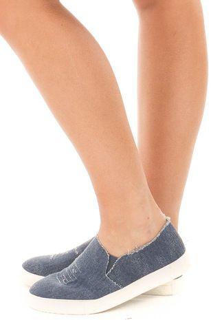 Distressed Denim Casual Slip On Sneakers side view