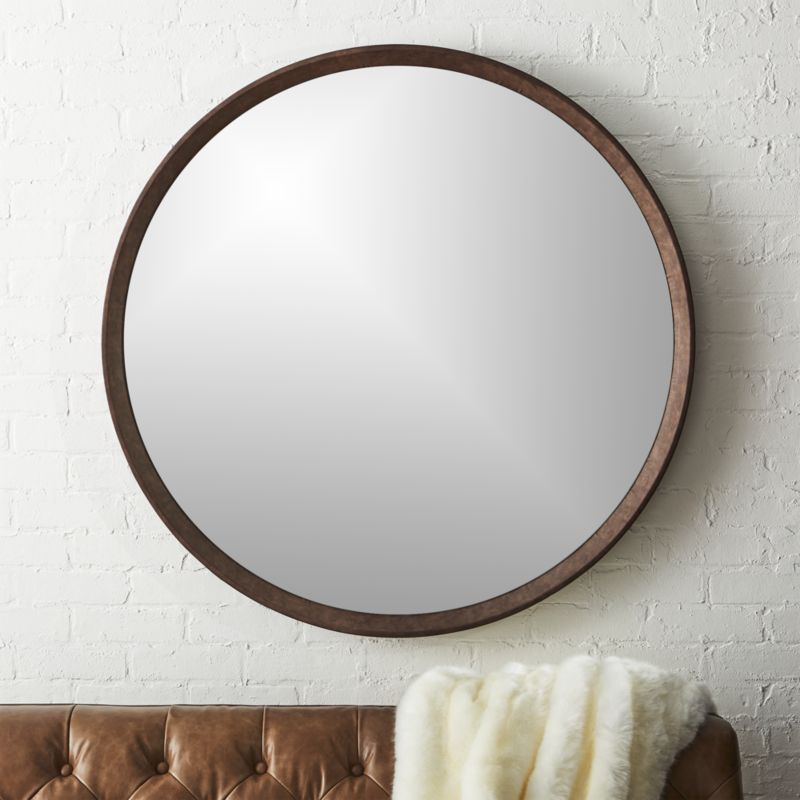 40 round mirror decorative wall shop irvington brown wall mirror 40