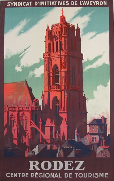 Rodez Original Poster By Charles Hallo Alo From 1926 France