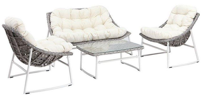 Salon de jardin COMFY en résine tressée gris et blanc avec table basse