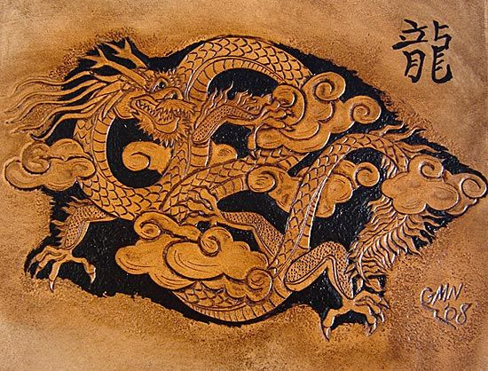 Oriental dragon leather carving pinterest