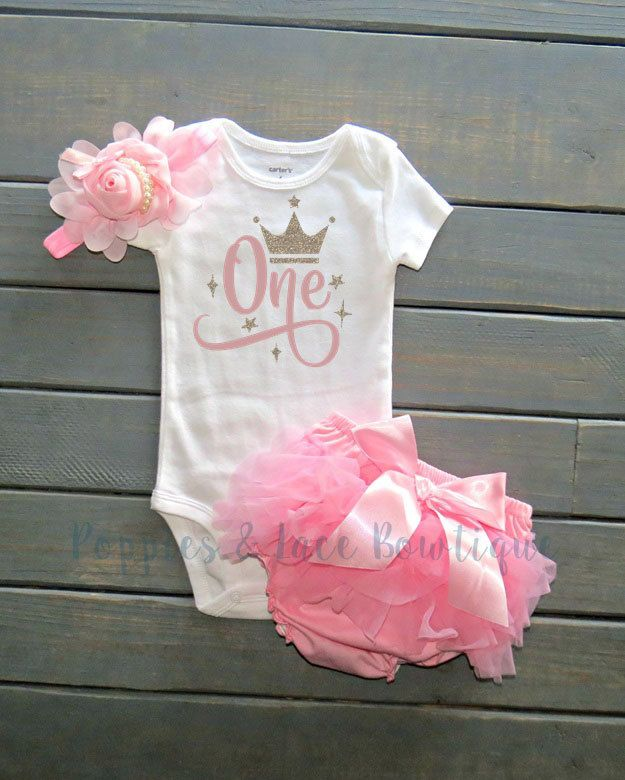First Birthday Outfit Babys Cake Smash Baby Pink Bloomers Girl 1st