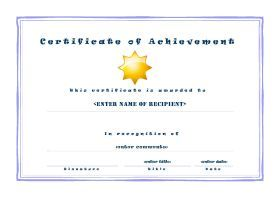 Free Printable Certificates Of Acheivement  A Landscape  Casual