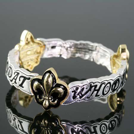 "Desinger Inspired Silver & Gold Tone Fleur De Lis Bracelet with ""Who Dat"" Inscribed Hail Mary Gifts, http://www.amazon.com/dp/B008JGOCOM/ref=cm_sw_r_pi_dp_X2xaqb0PPNQKV"