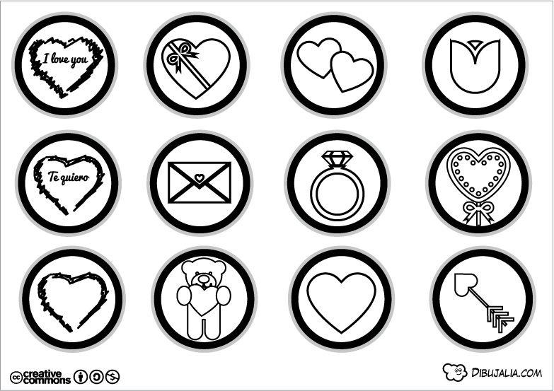Dibujos Para Colorear Del Dia De Los Enamorados: Stickers Para El Día De Los Enamorados