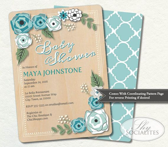 Birch Wood & Floral Baby Shower Invitation  by ShySocialites, $15.00