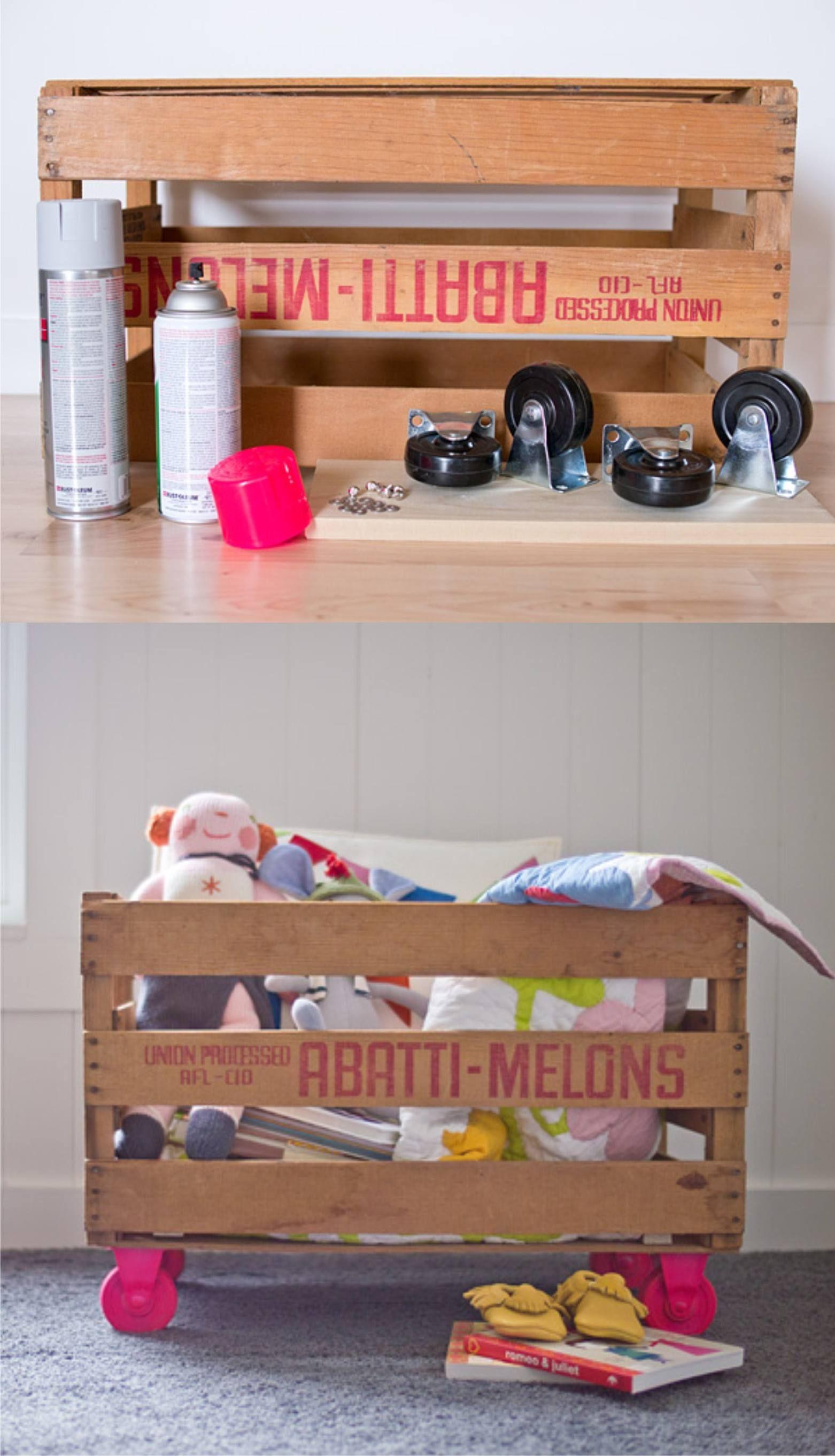 Reciclar una caja de frutas para guardar juguetes caja - Cajones guarda juguetes ...
