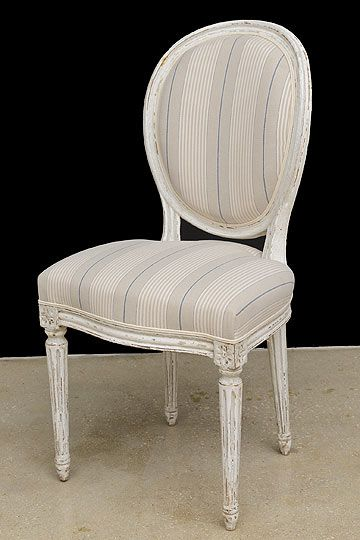 Set Of 8 French Antique Louis XVI Style Medallion Back Painted Dining Chairs