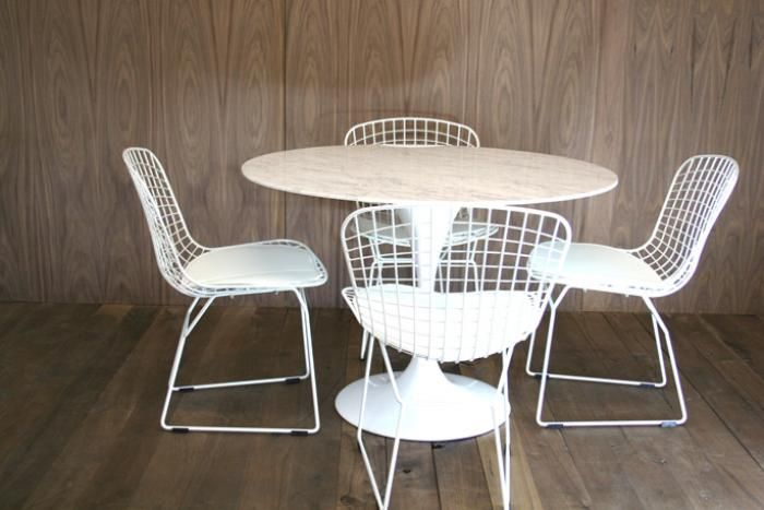 Marble Saarinen Style Tulip Dining Table And Bertoia Style Wire Extraordinary Wire Dining Room Chairs Design Decoration