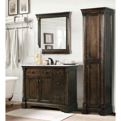 Legion Furniture WLF6036-36 36-in. Single Bathroom Vanity with Carrara White Top - Antique Coffee