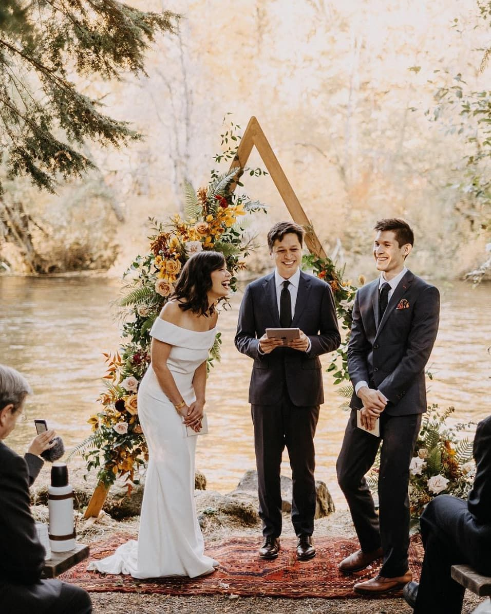 Here S The Lowdown On Friends Officiating Weddings Ruffled Lodge Wedding Forest Wedding Night Wedding Photos