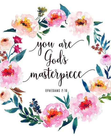 Bible Verse Print You Are God's Masterpiece Ephesians 2:10 Inspirational Christian Quote Print Scripture Wall Art