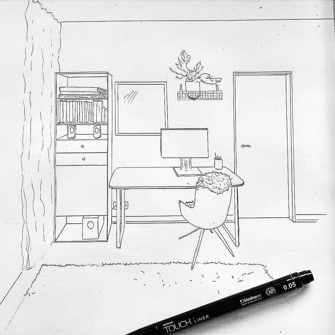 Arbeitsplatz Im Massstab 1 20 Frontale Perspektive Hamburg Sketch Zeichnen Lifeislove Int Interior Design Interior Drawings