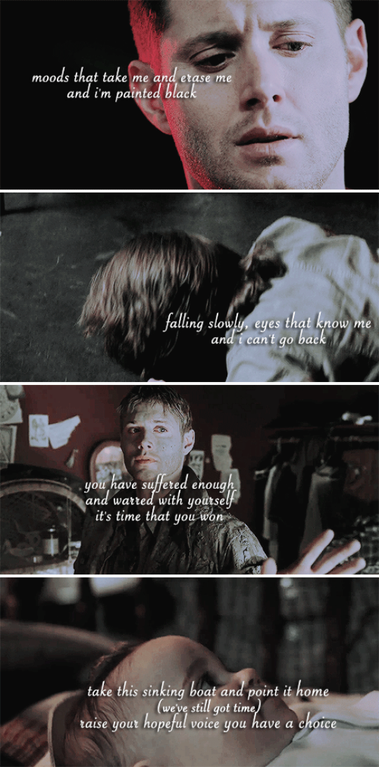 words fall through me and always fool me  and I can't react  take this sinking boat and point it home #spn
