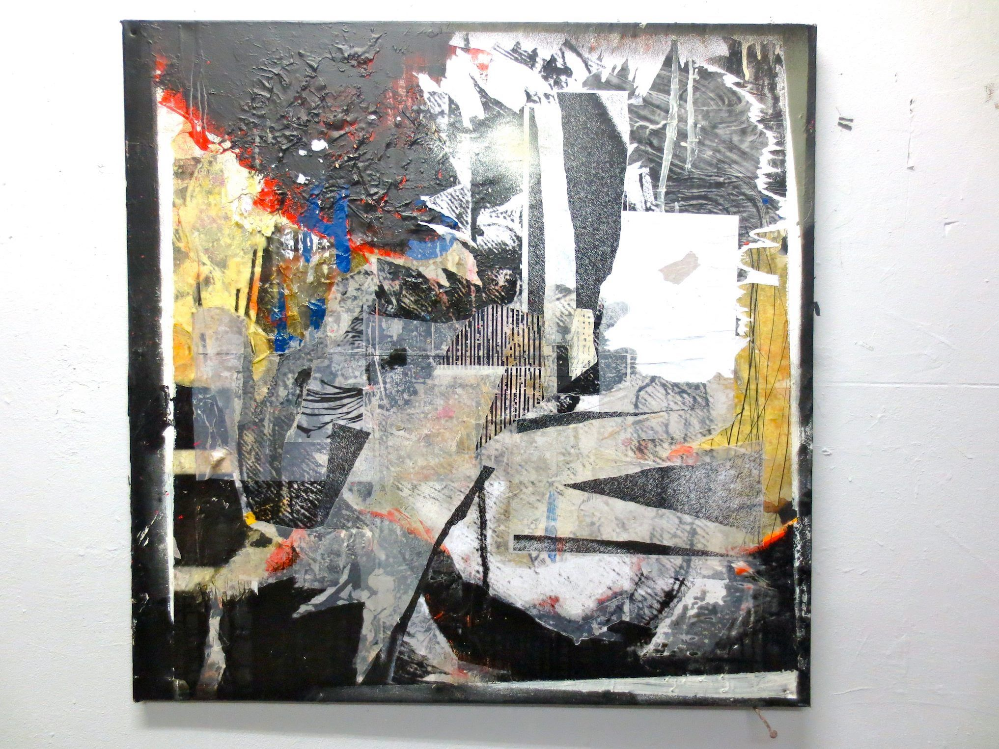 """""""self obliteration"""" PAINTING Artwork on canvas, 60cm x 60cm  Alain de Botton (446,000 followers) suggests a Twitter guru. """"We need, on occasion, to be able to go to a quieter place.""""  anton UNAI (0 followers) is NOT convinced"""