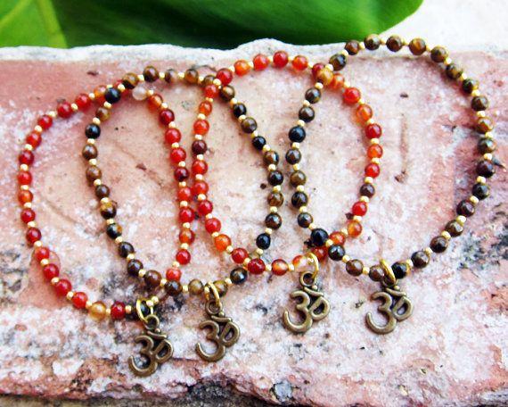 Real gemstone bracelet with OM charm