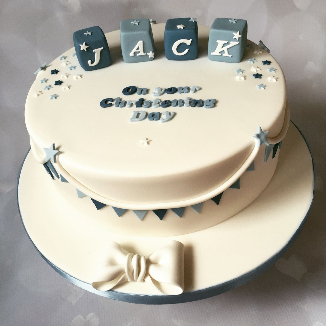 Blue and white christening cake with blocks | quotes and sher ...