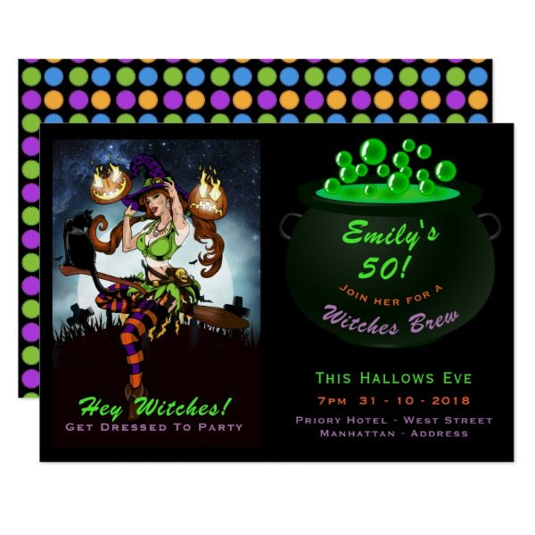 50th Birthday Halloween Witches Party Invitations Holiday Creepyhollow Cards Postage