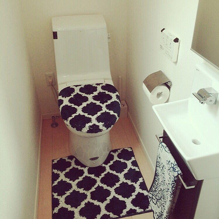 バス トイレ しまむら ネイビーが好き シンプル しまむらトイレマット などのインテリア実例 2016 10 01 09 21 17 Roomclip ルームクリップ トイレマット トイレファブリック インテリア 実例