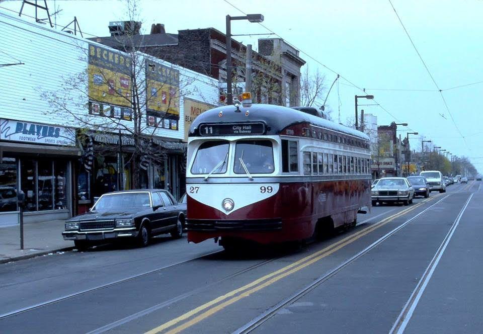 SEPTA PCC trolley on Rt.11 Motorcoach, Light rail, Red arrow