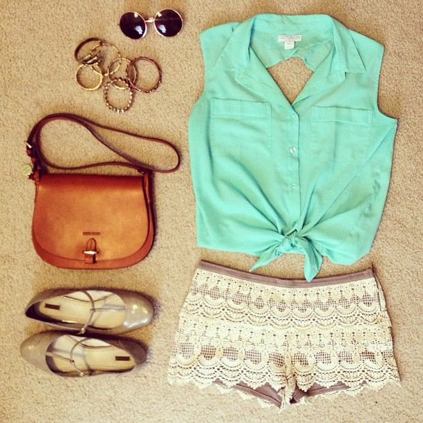 Love this outfit-- little gold circle sunglasses, gold and brown bracelets, nice sized Carmel leather purse, neutral unique shiny flats, lace shorts, and mint button up blouse tank.