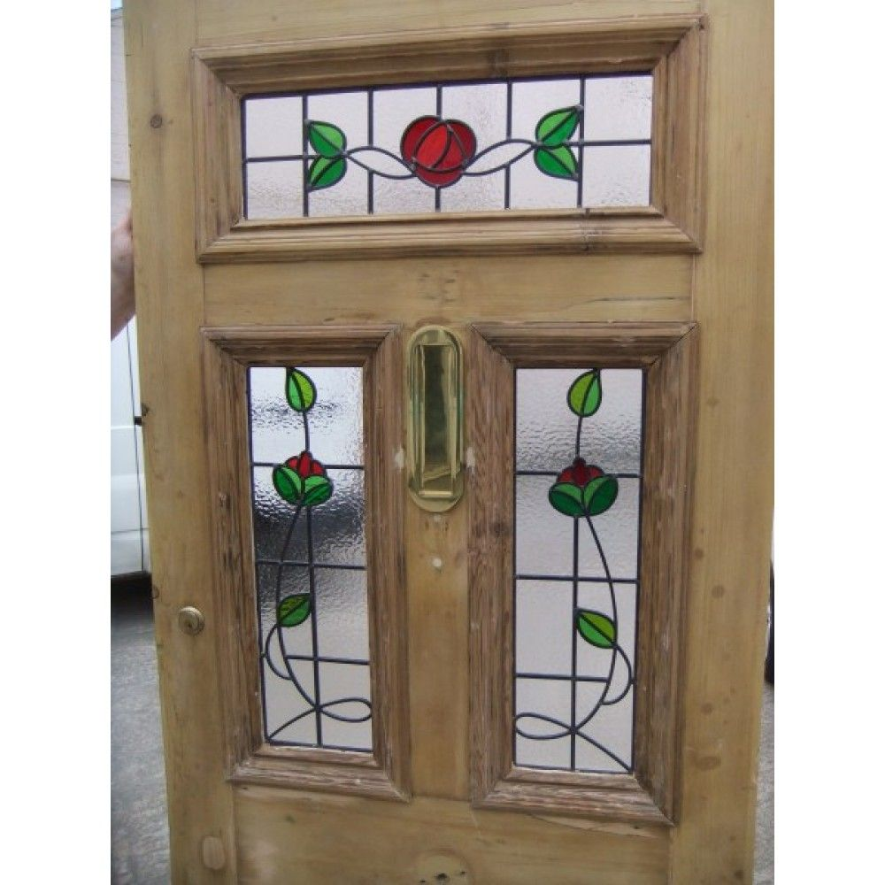 Victorian Edwardian 5 Panel Stained Glass Exterior Original Door The Rose