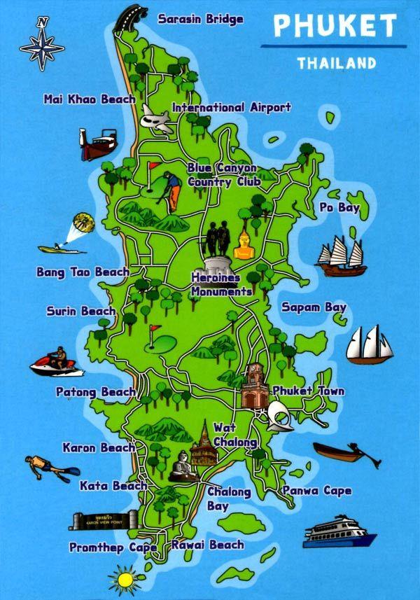 Phuket Island Tourist Map Phuket Reisen Phuket Thailand