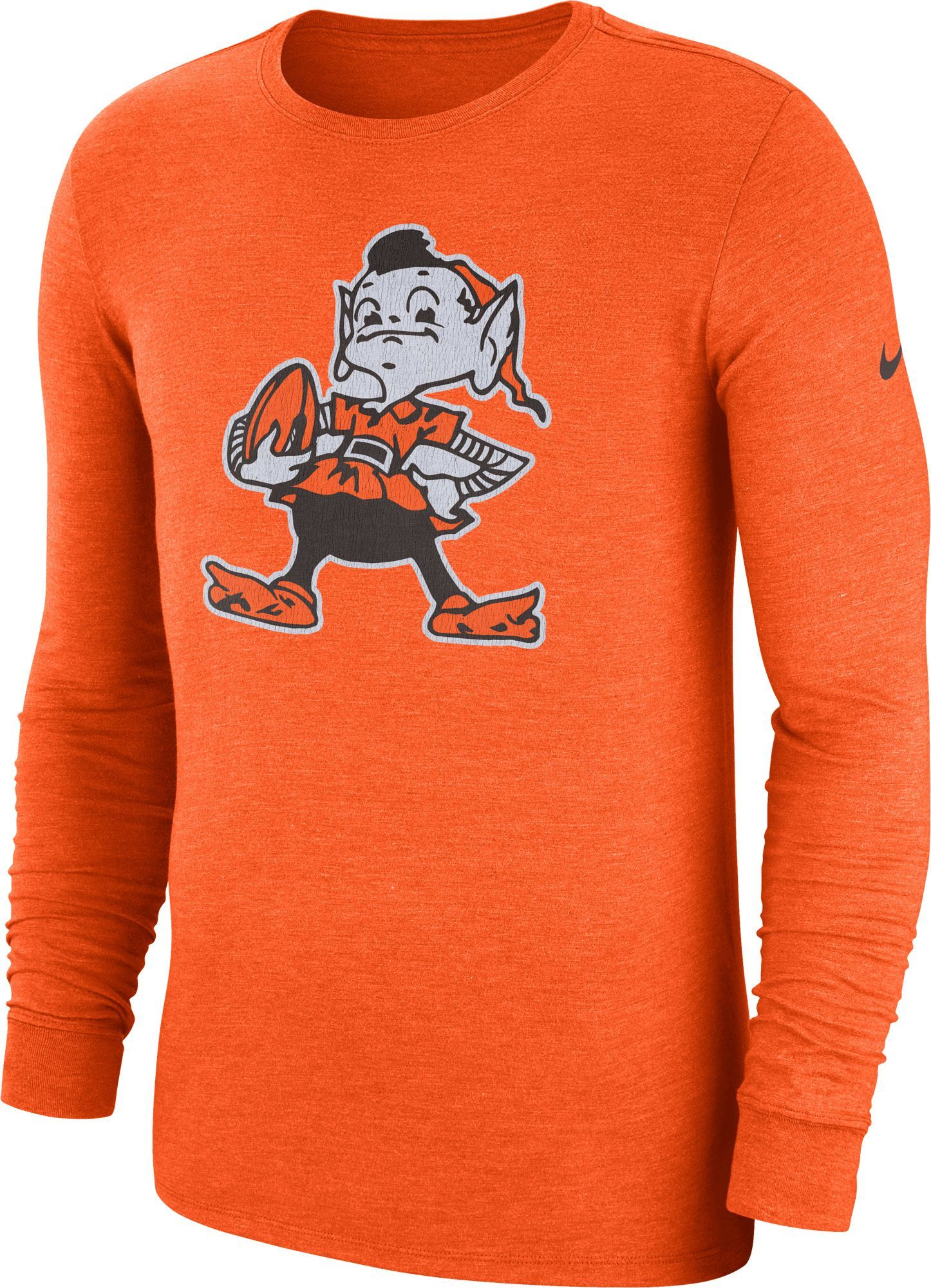 Nike Men s Cleveland Tri-Blend Historic Crackle Orange Long Sleeve Shirt 62b7db2c5