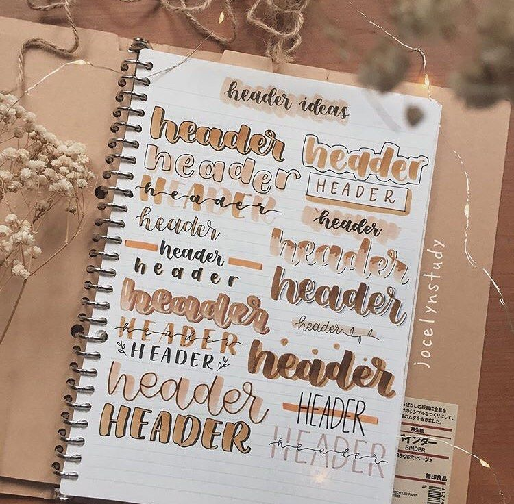 """Bullet Journal Inspiration on Instagram: """"header ideas✨✨✨ ⠀⠀⠀⠀⠀⠀⠀⠀⠀ Thanks to @jocelynstudy for this awesome ideas! 💕💕💕"""""""