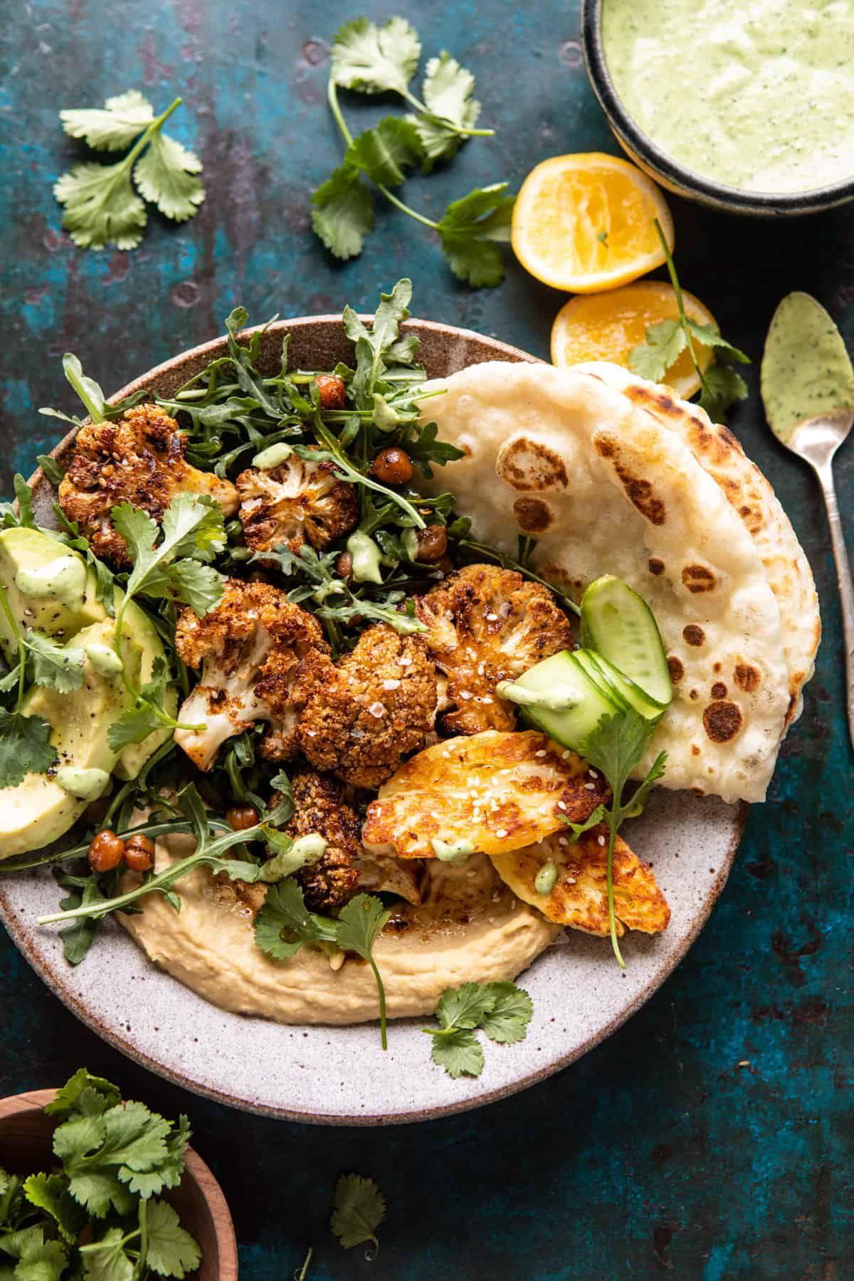 Cauliflower Shawarma with Green Tahini and Fried Halloumi. – Half Baked Harvest