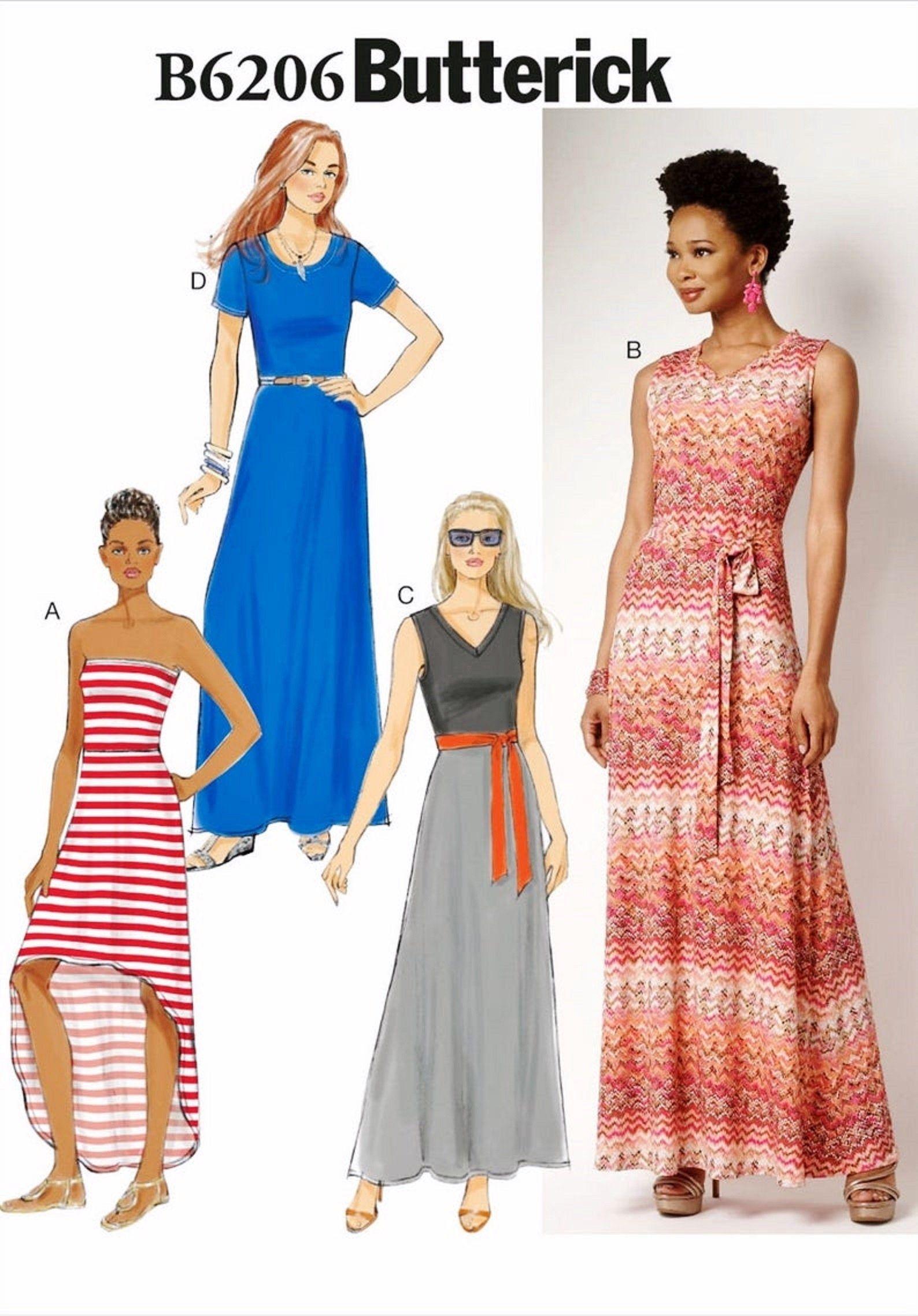 Sewing Pattern Women S Casual Long Dress Pattern Stretch Knit Strapless Dress Pattern Butterick Sewing Pattern 6206 Long Dress Patterns Maxi Dress Pattern Long Dress Casual [ 2278 x 1588 Pixel ]