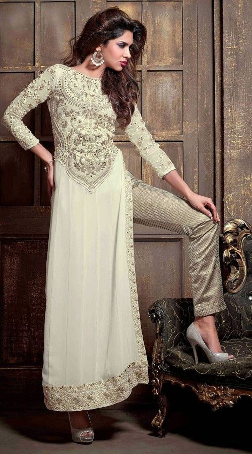 India Bazaar Stylish Off White Faux Georgette Designer