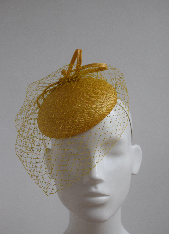 ca36b5096f2 Mustard Yellow Wedding Hat - Mustard Yellow Fascinator - Mustard Yellow  Straw Headpiece - Mustard Pillbox Hat - Dijon Mustard Cocktail Hat by ...