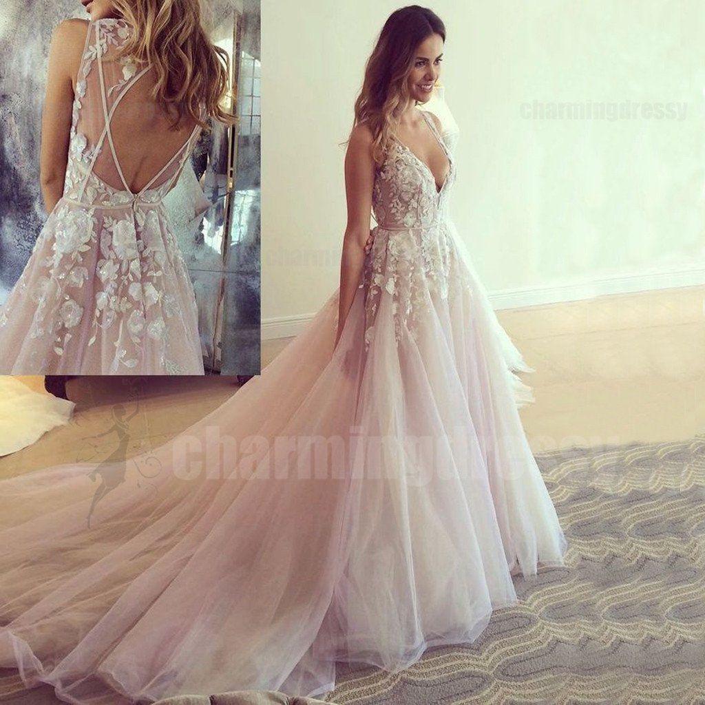 Pastel pink lace applique evening dresses sexy vneck party formal