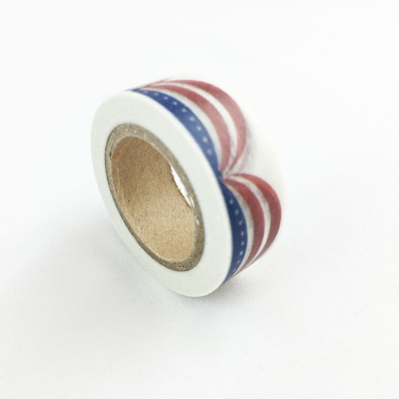 efe45dee5fc7 Multi Strung American Flag Scalloped Banner Washi Tape    15mm    Paper Tape     BBBsupplies  CR-W-P406