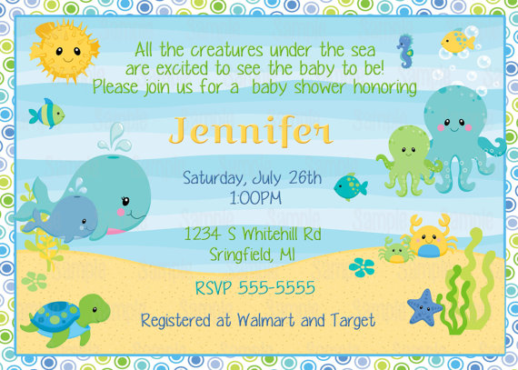 printable under the sea baby shower invitation plus free blank, Baby shower invitations